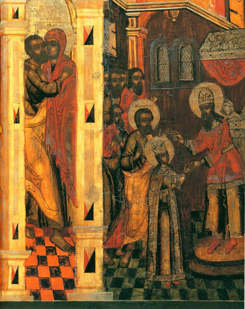 Сцены «Встреча у Золотых ворот» и «Поручение Марии Иосифу»