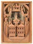 Преподобные Антоний и Феодосий Печерские, с видом Успенского собора Киево-Печерского монастыря и образом Успения Богоматери