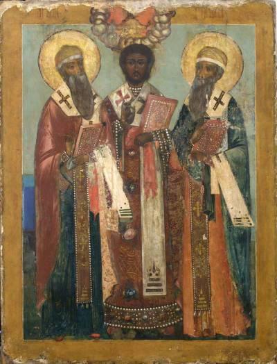 Святители Иоанн Златоуст, Гурий Казанский и Варсонофий Тверской