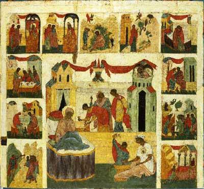 Рождество Богоматери, с клеймами жития Богородицы