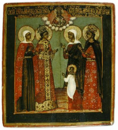 Избранные святые жены в молении Спасу Вседержителю