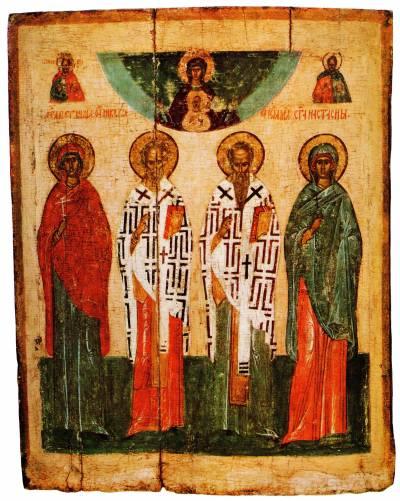 Избранные святые с образом Богоматери «Знамение»