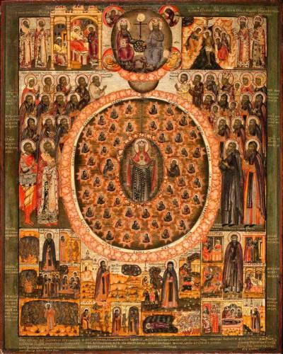 Богоматерь Воплощение с печерскими святыми. Избранные святые, праздники и сюжеты из Печерского патерика