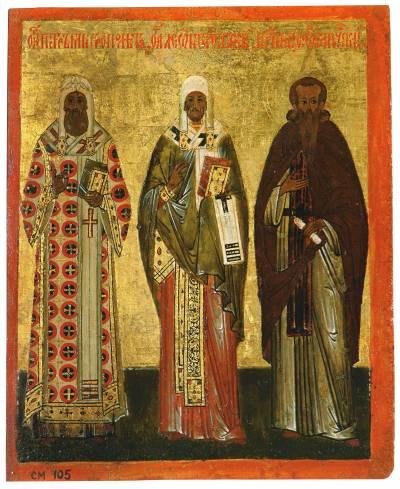 Святители Петр, митрополит Московский и Леонтий, епископ Ростовский и преподобный Феодосий Печерский