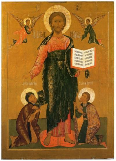 Христос Вседержитель, с припадающими святыми князьями Александром Невским и Георгием Владимирским