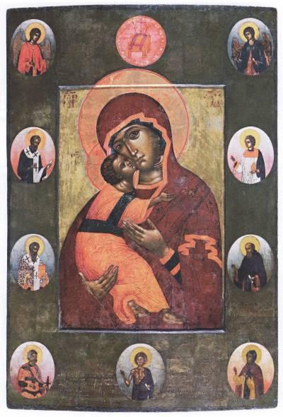 Владимирская икона Богоматери, с избранными святыми