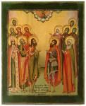 Избранные святые, предстоящие Христу Вседержителю