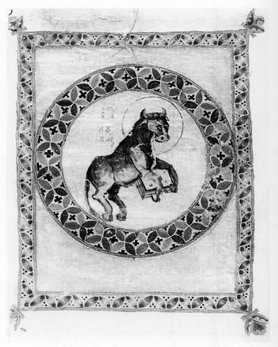 Телец, символ евангелиста Луки - Новый Завет с Псалтирью [Син.греч.407 (Влад.25)],