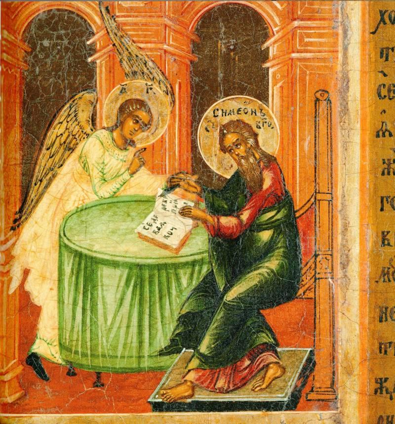 Св. Симеон хочет ножом стереть слова пророчества, но ангел останавливает его руку