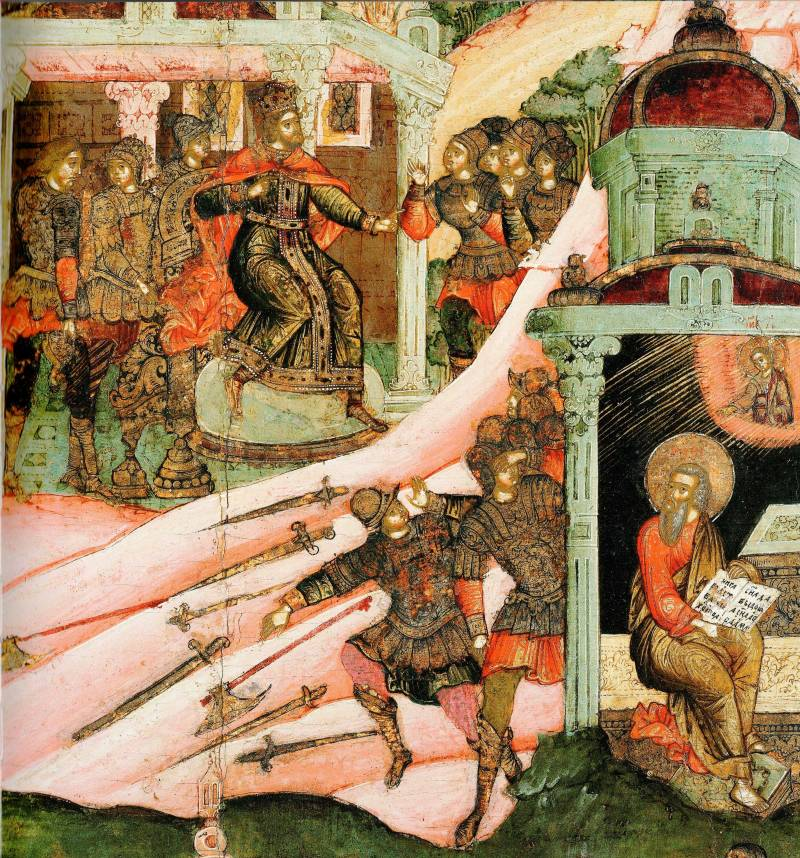 Царь Фульван посылает на апостола «зверообразных» воинов. Явление св. Матфею Спаса Эммануила и бегство воинов