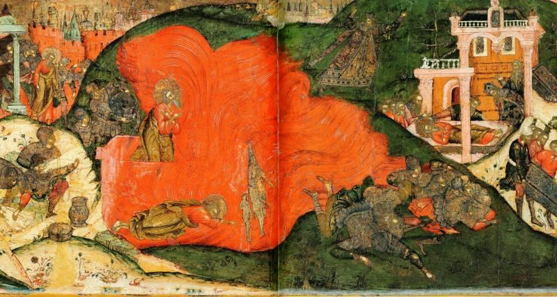 По царскому повелению св. Матфея сжигают, окружив печь золотыми идолами