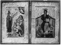 Богоматерь Боголюбская. Спас на престоле, с припадающими