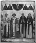 Свт. Николай Чудотворец, Никита Новгородский, Иоанн Новгородский, Александр Свирский, со святыми на полях
