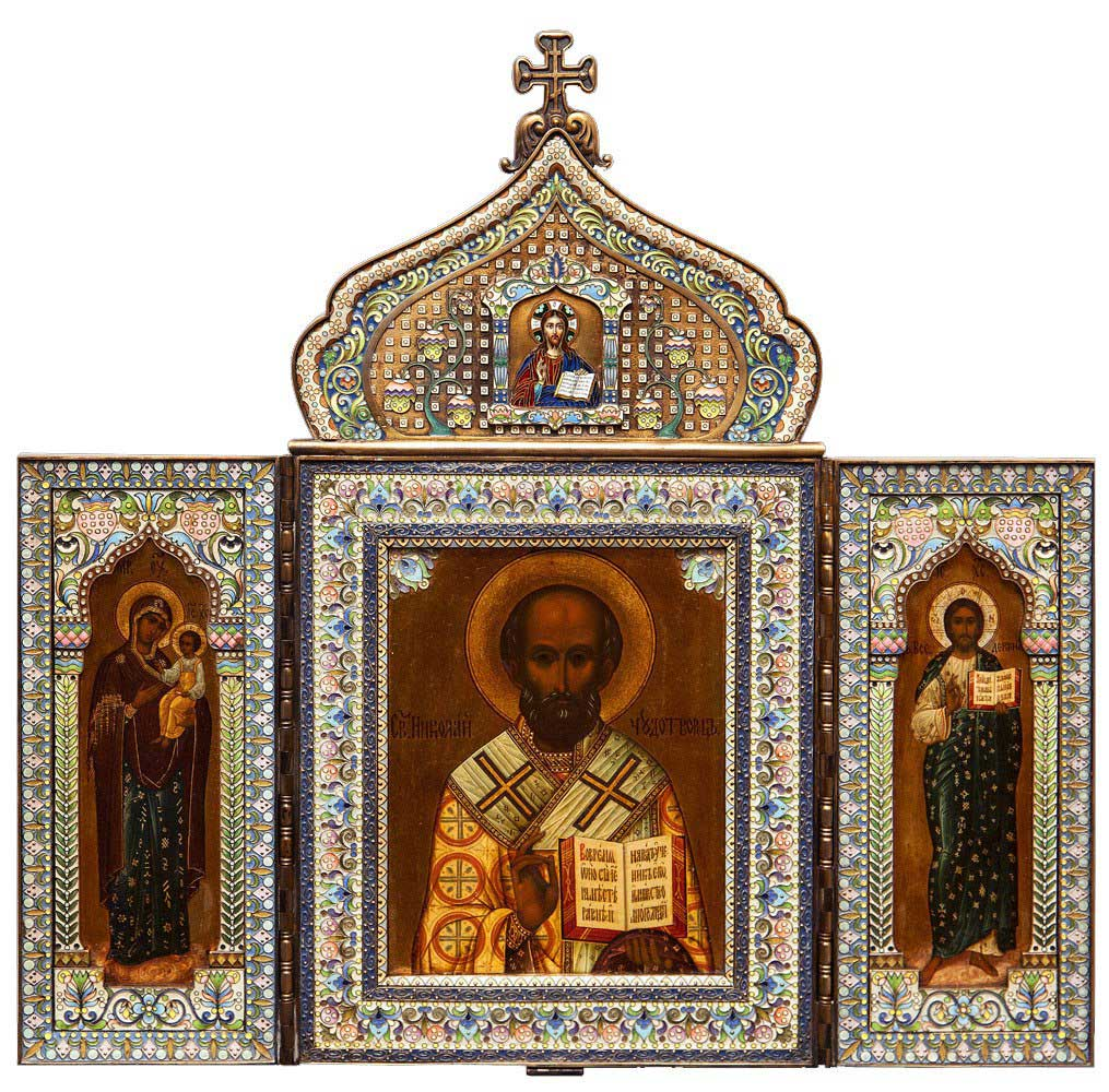 Святитель Николай Чудотворец. Богоматерь Одигитрия. Господь Вседержитель