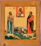 Мученики Флор и Лавр в предстоянии образу Господа Вседержителя