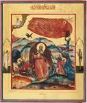Огненное восхождение пророка Илии, со сценами жития, со святыми на полях