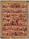 Воскрешение — Сошествие во ад, с праздниками, Страстями и евангельскими сценами