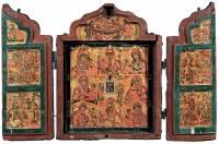 Складень-кузов с нагрудной иконой Богоматери Одигитрии, восемью образами Богоматери и праздниками