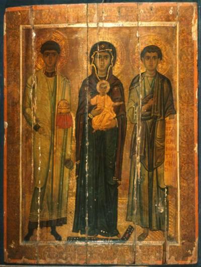 Богоматерь с Младенцем, архидиакон Стефан и пророк Моисей