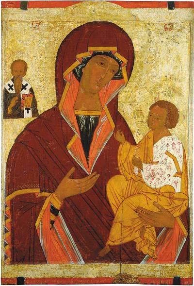 Богоматерь Одигитрия, со святителем Василием Великим
