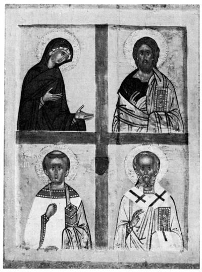 Богоматерь, Спас, архидиакон Стефан и святитель Николай Чудотворец