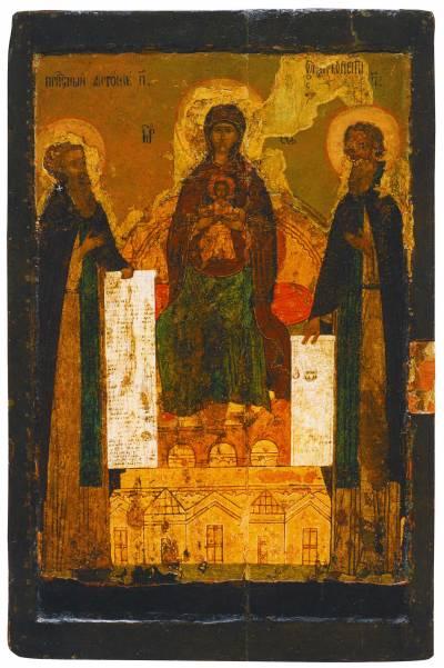 Богоматерь на престоле, с предстоящими Антонием и Феодосием Печерскими (Богоматерь Печерская)