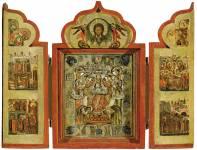 Деисус с припадающими прпп.Зосимой и Савватием Соловецкими, с праздниками