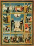 Преподобные Зосима и Савватий Соловецкие, с изображением монастыря и клеймами жития