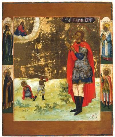 Великомученик Георгий, со сценой усекновения главы, со святыми на полях