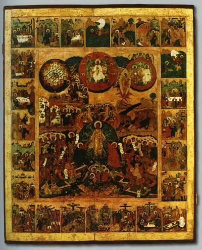 Воскресение — Сошествие во ад, с евангельскими событиями в клеймах