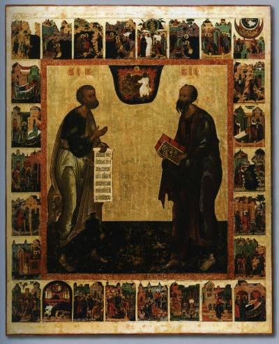 Апостолы Петр и Павел, с деяниями в клеймах