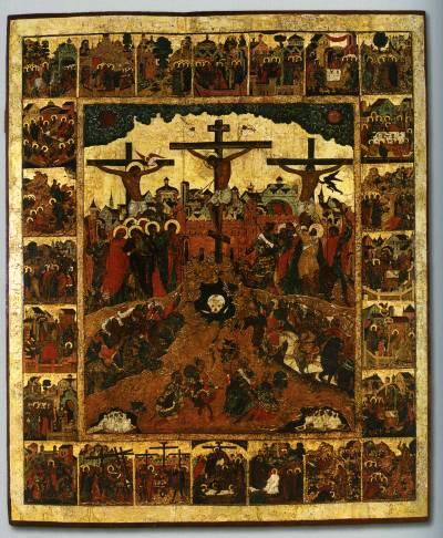 Распятие, с евангельскими событиями Страстной и Пасхальной седмиц, в клеймах
