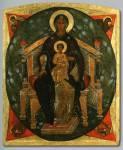 Богоматерь с Младенцем на престоле в Силах небесных.