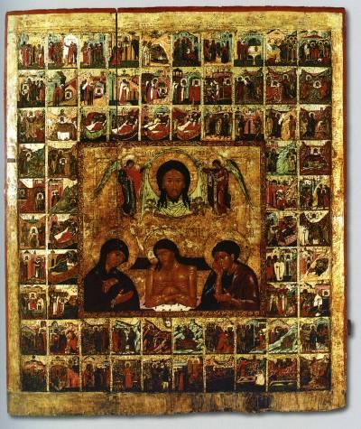 Спас Нерукотворный, «Не рыдай Мене, Мати...», со сказанием о Нерукотворном образе Спаса в 70 клеймах