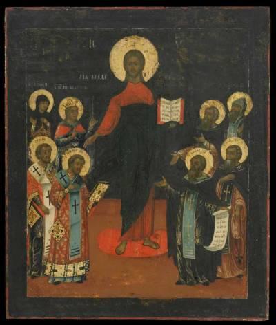 Спас Смоленский, с предстоящими святыми