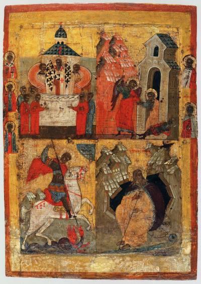 Воздвижение Креста; Изведение апостола Петра из темницы; Чудо Георгия о змие; Пророк Илья в пустыне