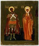 Святой Феодор Стратилат и мученица Ирина, с преподобной Феодосией на поле