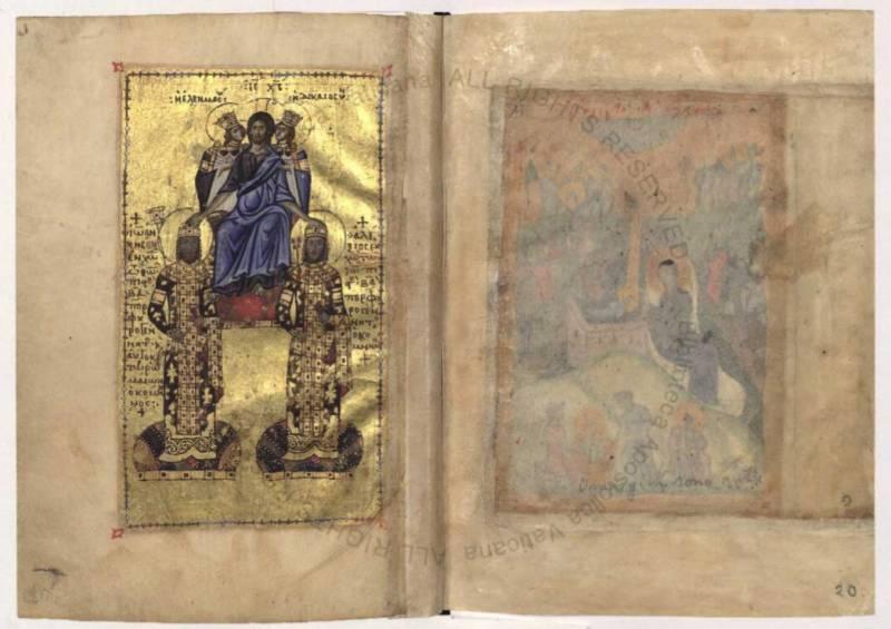 Христос коронует императора Иоанна II Комнина и его сына Алексея - Евангелие [Urbin.gr.2], лл. 19 об. – 20