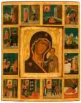 Казанская икона Богоматери, в раме с клеймами сказания об иконе