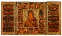 Владимирская икона Богоматери, с праздниками в 18 клеймах и десятью ликами святых на створках