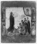 Богоматерь Боголюбская, с молящимися святыми и избранными святыми на полях