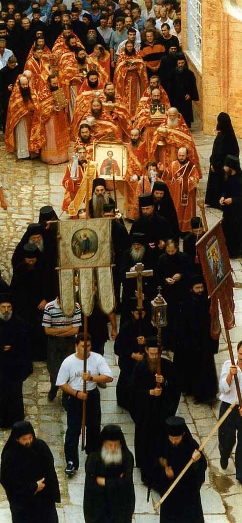 Престольный праздник в Русском на Святой горе Афон Свято-Пантелеимоновом монастыре