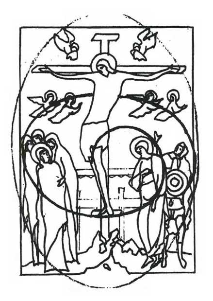 Схема движения по спирали вокруг Распятия