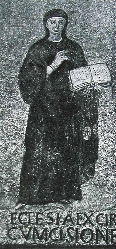 Олицетворение Церкви, уходящей от Синагоги