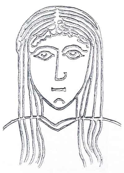 Голова Девы Марии на плите Тараскона