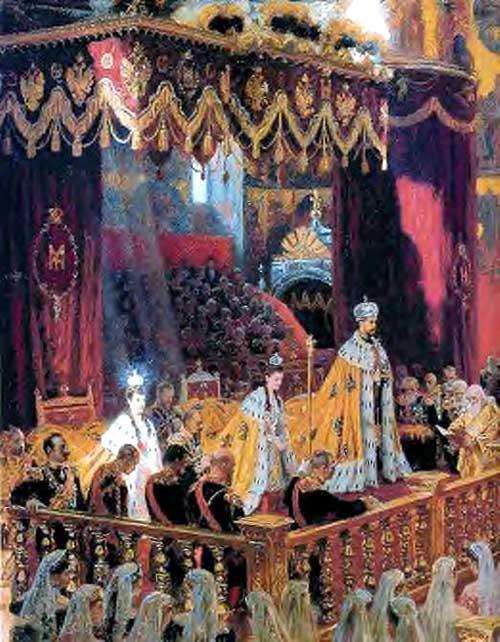 Коронация императора Николая II и императрицы Александры Федоровны в Успенском соборе Московского Кремля