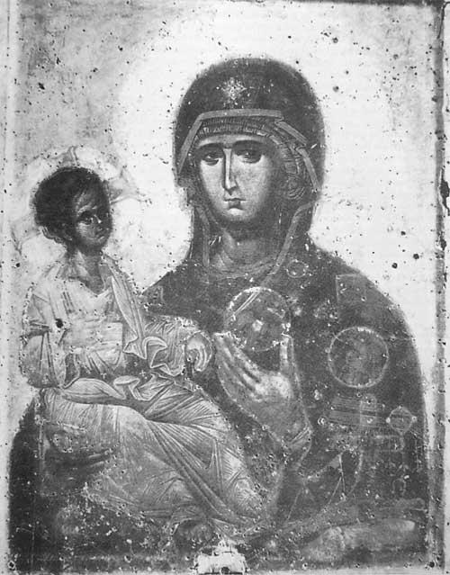 Gottesmutterikone Tricheirousa im Kloster Hilandar auf dem AthosOhne Oklad