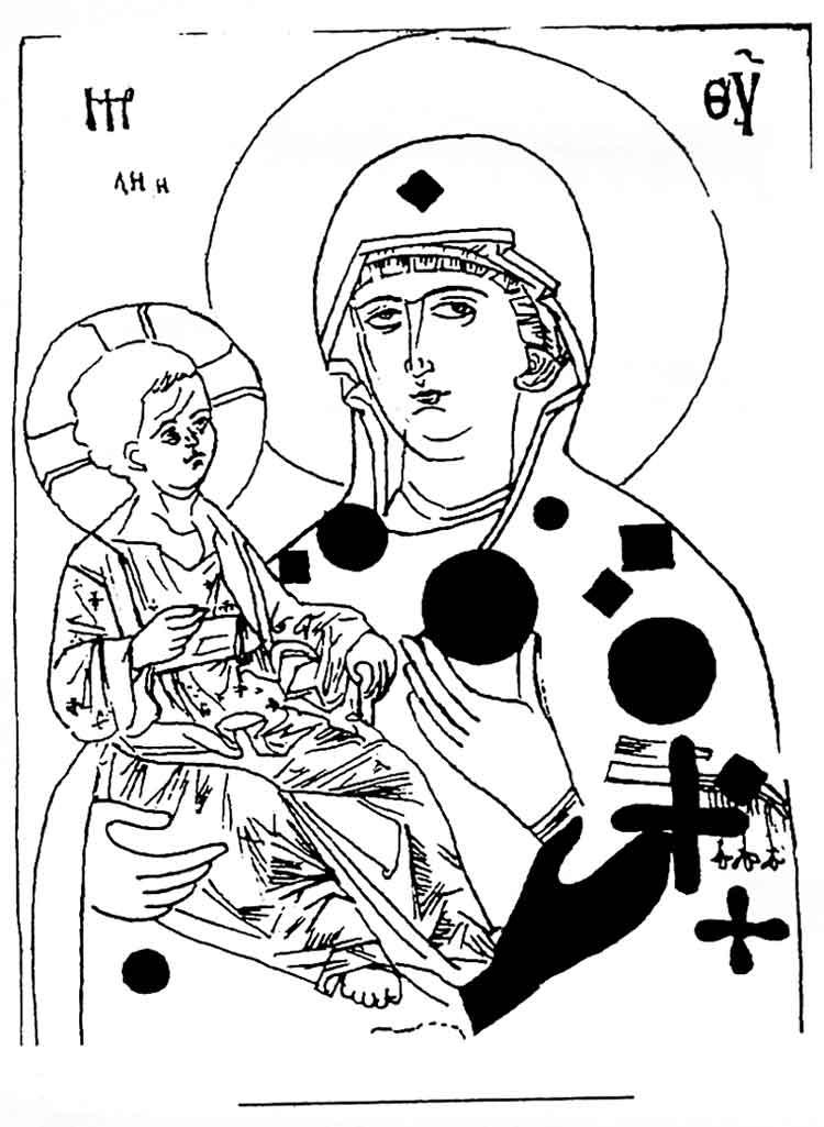Прорись иконы «Богоматерь Троеручица» с указанием следов вотивных предметов