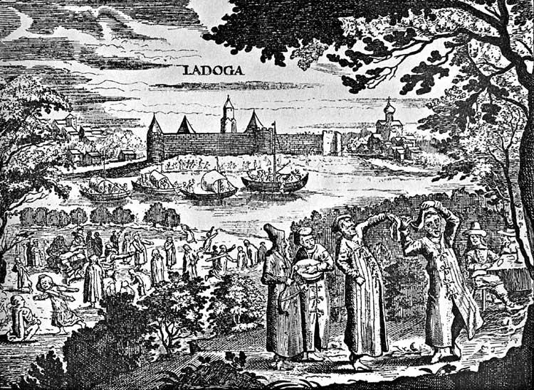 Вид Ладожской крепости с противоположного берега Волхова