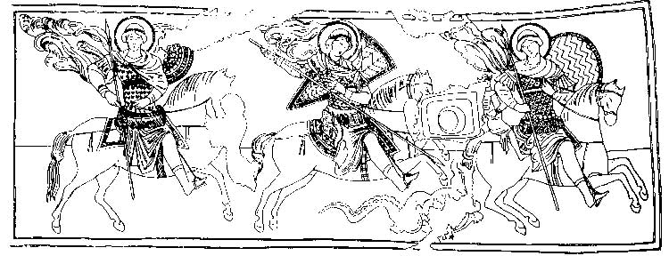 Three images of the Warrior Saint on horseback